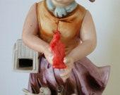 1950s Figurine Ardco Girl With Red Bird Sticker