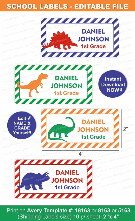 dinosaur school labels   dinosaur labels   school name