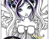 "Single Coloring Page Digital Download Line Art ""Cassandra Close Up"" Myka Jelina Art Butterfly Fairy Cute Tattoo Pigtail Fae"