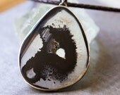 RESERVED Black Agate Sterling Silver Necklace, Brazilian Agate Necklace - Self and Soul