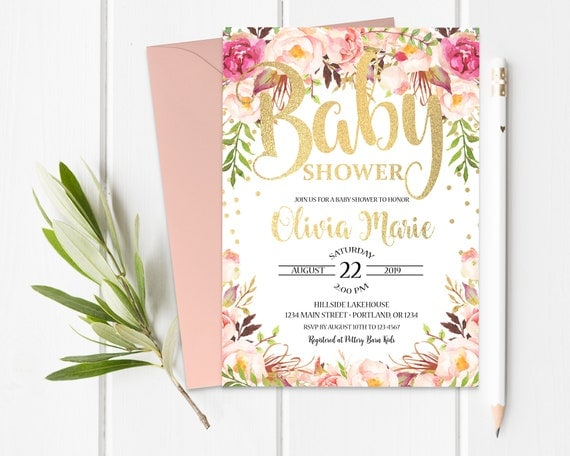 boho baby shower invitation baby shower invitation girl girl