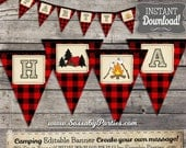 Camping Party Banner - INSTANT DOWNLOAD - Editable & Printable RED plaid, Birthday Campfire, Tent, Wilderness, Outdoor Decor, Decorations