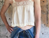 1920s Victorian White Lace Rayon Cropped Tank Camisole Small