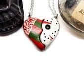 Freddie Krueger necklace, Friday the 13th necklace, Nightmare On Elm Street, Broken Heart necklace, horror valentine, gothic wedding