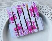Fridge Magnet Set - Magnetic Decorated Clothespins Fridge Magnets - Tilda Paper - Fushia White Rose