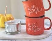 Hello Pumpkin Campfire Mug, Fall Mug, Pre-FALL SALE! 15 oz, Pumpkin Spice Latte, PSL Coffee Mug, Fall Decor, Pumpkin Decor, Coffee Cup