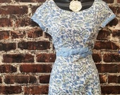 1950s Blue Floral Wiggle Dress by Liberty of London. Cotton Linen Dress, Short Sleeve Classic Summer Dress. 50s Pencil Sheath Dress
