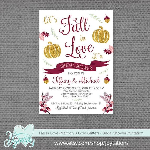 026577a2c492 Fall In Love Bridal Shower Invitation Digital File or Printed ...