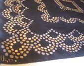 70s 80s Disco VERA Scarf / black copper gray scarf / Vera Neumann scarf / square 22 inches