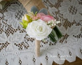 Rustic Boutonniere, Ivory Rose and Wildflower Boutonniere with Burlap Wrap