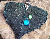 RAIN DROPS - Real Electroformed Large Cottonwood Leaf Pendant, Hand Colored, with glass water dew drop and beaded drops