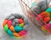 """Organic Merino 'Reach for the Sky"""" Spinning roving by Spinning Mermaid. Neon rainbow, spinning fiber, hand dyed roving, combed top"""