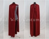 SALE! Versatile Fantasy Cape with sword buttons - 40% off! - Dark red - Cosplay, larp, medieval - Ready to ship