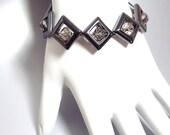 RESERVED for LO - Smoky Crystals in Gunmetal Frames Bracelet