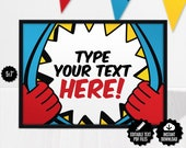 Superhero Table Signs - Editable Place Cards - Buffet Cards - Printable Food Cards - Comic Book Baby Shower/Kids Birthday Party Table Decor