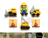 Construction Vehicle Magnets, Construction Theme, Digger Magnets, Fridge Magnet, Magnet, Refrigerator Magnet, Office Decor,  Weekly Planner