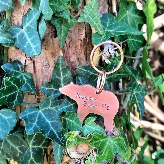 Bear Dog Tag, Hand Stamped Tag, Hand Cut Copper, Brass, Aluminium