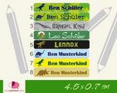 24 Stifteaufkleber | wasserfest | Dinos, T-Rex, Triceratops, Diplodocus, Flugsaurier | Sticker, Aufkleber für Stifte, Lineal, Schere, ...
