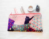 Make Up Bag/ Pencil Case/ Black Cat Pouch/ Gift for Her/ Gift for Mom/ Back to School Supply/ Birthday Gift/ Best Friend Gift/ Women Gift