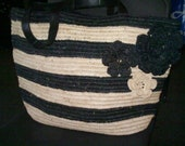 Special Order for RED Black & Grey Striped Tote