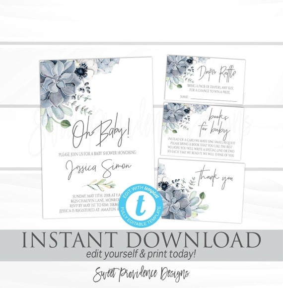 Succulent baby shower invitation kit watercolor boho floral il570xn filmwisefo