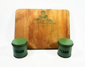 Vintage Child's Play Kitchen  Wood Cutting Board Flour, Sugar and Cookie Tin Canisters - Mother's Little Helper