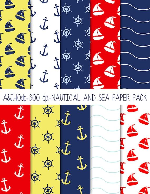 Nautical papers, nautical scrapbooking, nautical digital papers