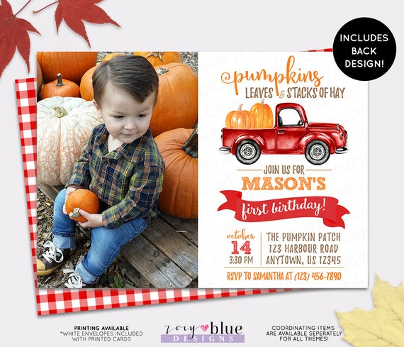Boy Red Pumpkin Truck Invitation Photo Patch First Birthday