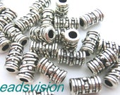 50 Metal Beads Cylinder spacer Metal Paint Antique Silver 9 x 5 mm #S119