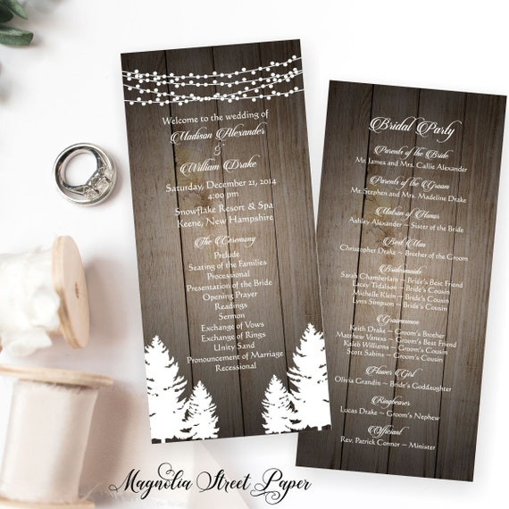 rustic winter wedding program rustic pine trees and string of