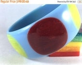 New Made Bakelite Bangle - Baby Blue with Yellow & Black Cherry Laminate Dot Jesse Fowler Original Polished Bakelite Bracelet 1 3/16""