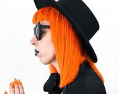 Unisex Studded Panama Top Hat witchy - Black