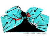 Turquoise Atomic Blast Sputnik Cosmic Rockabilly Vintage 1940's 1950's Pin Up Head Scarf Hair Tie Headscarf Hair Bow by Miss Cherry Makewell
