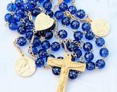 Rosary - French Blue Stars Glass - Ste Madeleine & Saintes-Maries - 18K Gold Vermeil