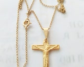 Necklace - French Crucifix 21x28mm - 18K Gold Vermeil + 18 Inch Italian 18K Gold Vermeil Chain
