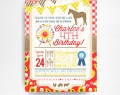 County Fair Girl Birthday Party Printable Invitation YOU Print Red Sunflowers Chic Ferris Wheel Blue Ribbon