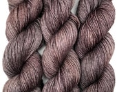 """RESERVED for Kate**Hand Dyed Yarn """"Charred"""" Grey Brown Black Bluefaced Leicester BFL Silk Fingering Sock Superwash 425yds 115g"""