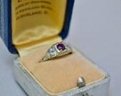 Antique Vintage Filigree 10K WHITE Gold  Diamond Amethyst Ring SIZE 8.5