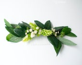 Boho Eucalyptus and Greenery Bridal Hair Comb with Hops and Wildflowers