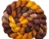 Hand dyed roving - Silk / Polwarth 40/60% wool roving - 4.1 ounces - Basilisk's Eyes