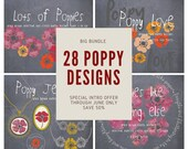 BIG BUNDLE OF 28 Poppy Designs - All four design packs with my hand drawn Poppies - Save 50% on this intro offer - through June only