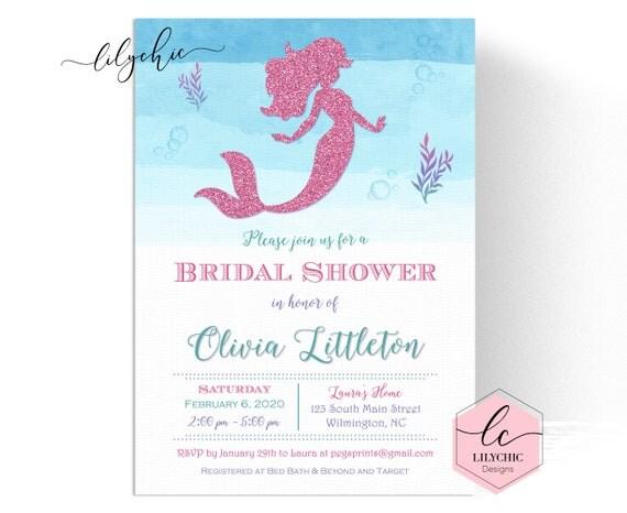 Glitter mermaid bridal shower invitation printable glitter bridal il570xn filmwisefo
