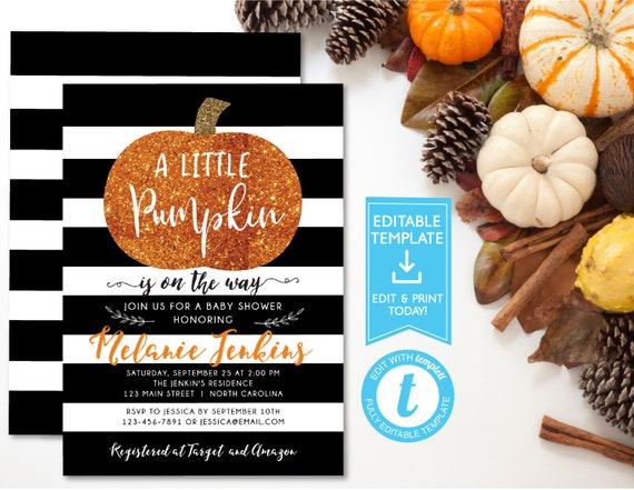 Little Pumpkin Baby Shower Invitation Fall Autumn A Little Pumpkin