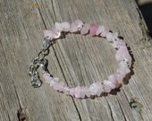 Rose Quartz Bracelet ~ Natural Irregular Chip Stones ~ Pink Stones  ~ Semi Precious Stones ~ Bohemian Style ~ Boho ~ Unique Gift
