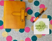 A6 Marigold Yellow Leather Travelers Notebook with Wide Spine and closure tab (refillable journal/planner)