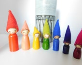 The Little Rainbow Bright Family A Set of Seven Dolls House Wooden Peg Dolls Waldorf Craft