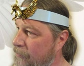Pegasus Headpiece, Black Leather Headband, Mens Headpiece, Blue Leather, Ren Fair for Men, Burning Man, Male Headpiece, Reenact Headpiece