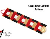 Beaded Bracelet Pattern | Tutorial | Circus Time | Seed Bead Pattern | Peyote Stitch | Two Drop | Instant Download | PDF Pattern