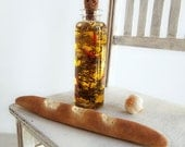 Miniature Olive Oil in GLASS Bottle with Garlic, Peppers, Herbs, & Loaf of Bread  -  1:6 Scale Realistic Food for Fashion Dolls and Figures