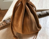 Suede Drawstring Pouch, Leather Drawstring Pouch Bag, Pouch, Native American Medicine Bag